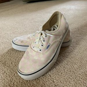 Light Pink Checkered Vans. Size 6 in men's.